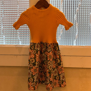 【KIDS】70's jersey and floral cotton dress - French -