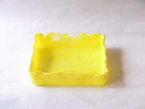 日本製 手づくり ガラス花器 スクエア  黄