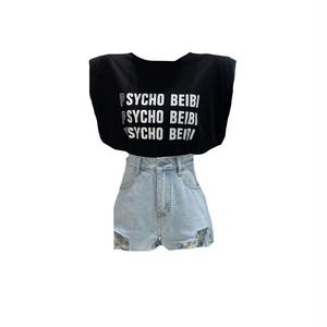PSYCHO BEIBIショルダービッグトップス(White,Black) 40