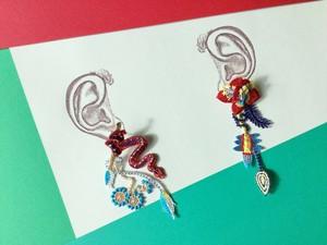 ARRO / 刺繍 ピアス / GARDEN / red