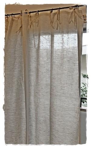 コットンリネン生成*フラットリボンカーテン(薄手)【トールサイズ】W143×H203