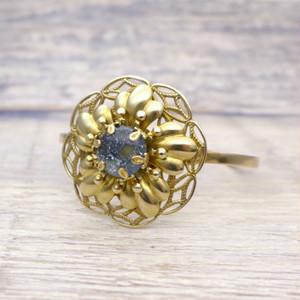 大きなお花のバングル 濃紺 青 星空:真鍮 ガラス ビンテージ ヴィンテージ