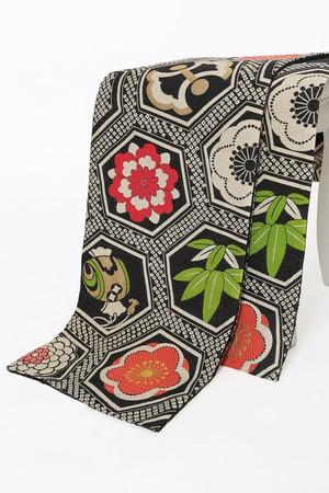 きもの道楽 振袖用袋帯 仕立て上がり 納期2週間 袋帯単品 ブランド かのこ亀甲 黒