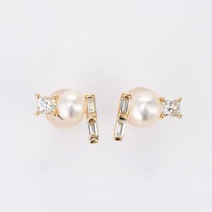 Twinkling stars K18YG Pearl Diamond Pierce (パール ダイヤモンド ピアス)