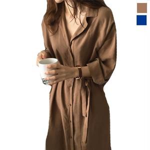 予約 レディースファッション 長袖 シャツワンピース レディース ロングシャツ ワンピース 羽織 カーディガン ネイビー ブラウン f1001