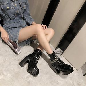 【シューズ】ファッションチャンキーヒール編み上げ暖かい丸トゥショート丈ブーツ36340446