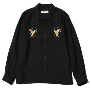 HUMMINGBIRD OPEN COLLAR L/S SHIRT (BLACK) / RUDE GALLERY