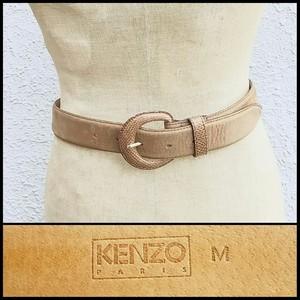 ケンゾーKENZO PARIS/ビンテージ/ヴィンテージ/レトロ/ヌバック/レザーベルト/茶/M/