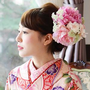 髪飾り 和装ヘッドドレス フラワー花飾り/ピンク[fc196pk]結婚式 成人式