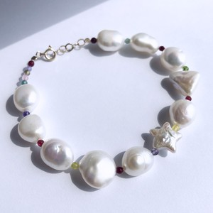 K10YG Multi Baroque Pearl x Multi Jade with a Star Pearl Bracelet / チャリティージュエリー