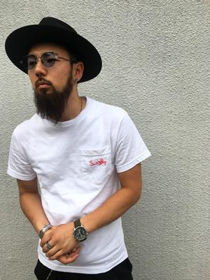 Sun's Bop 刺繍Tシャツ 赤 Sサイズ
