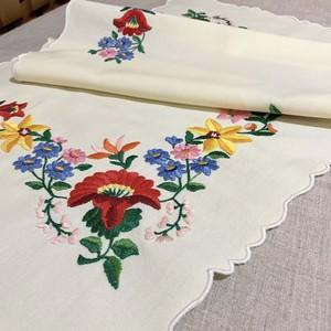 ヘリアンサスと薔薇のカロチャ刺繍