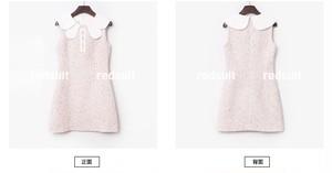 【再入荷】丸襟ピンクツイードワンピース