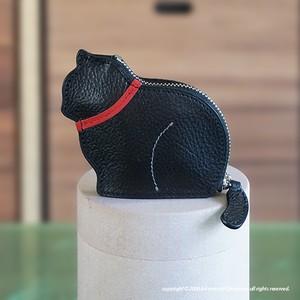 お座り子猫のコインケース・ブラック/レッド[受注製作]