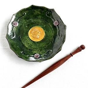 [KR30505]緑釉輪花小皿 明治(1個)/ Green Plate / Meiji Era