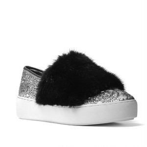 MICHAEL KORS COLLECTION Lorelai Mink Fur & Metallic Skate Sneakers