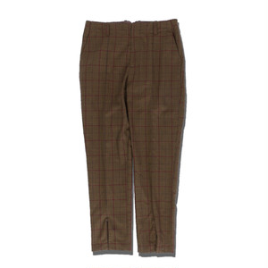 Slit Check Slacks -BROWN- / ADANS