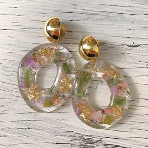 puddle flower hoop / clear gold