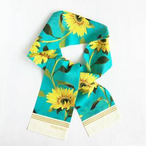 リボンスカーフ|Sunflowers(ヒマワリ柄・ターコイズブルー)/ コットン