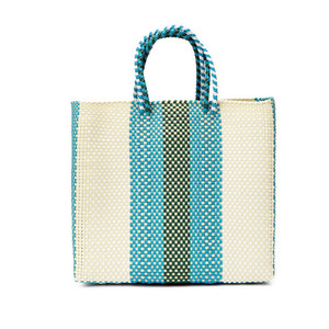 MERCADO BAG Lines - Cream × Green × L.Blue