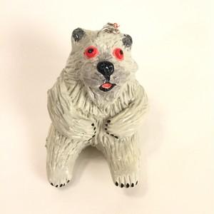 白熊毛羽毛現マラカスキーホルダー