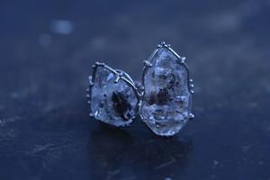 原石水晶2石の指輪