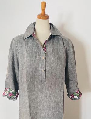 リネンシャツワンピース Linen Shirt dress (ベルトなし)