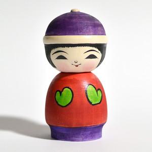 冬こけし(紫帽子に緑手ぶくろ) 約3寸 約9cm 阿保正文 工人(津軽系)#0014