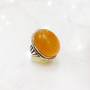 オレンジムーンストーン(62.38ct)のシンプルなボリュームシルバーリング