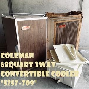 コールマン クーラーボックス 3WAY コンバーチブル デッドストック ビンテージ 縦型 ウッド ブラウン 70年代 NOS 付属品完備 純正箱付き 5257-709