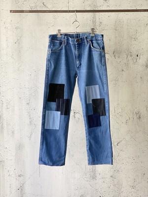 navy patchwork denim pants