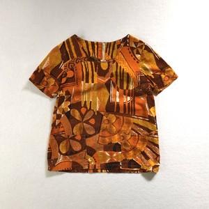 70's | flower textile pullover blouse (V4447A)