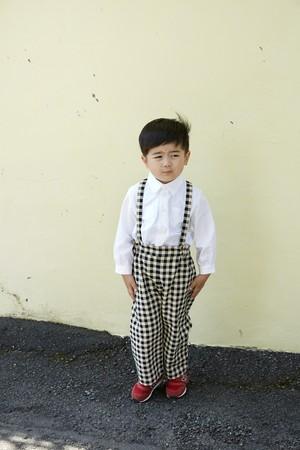 Kid's Suspender Pants Gingham  / Eatable Home