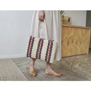 3color :Stripe Straw bag 93084 かご バッグ ストロー ストライプ