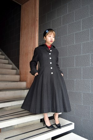VINTAGE gray wool princess coat