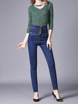 【ボトムス】ハイウエストジッパー着痩せファッションデニムパンツ