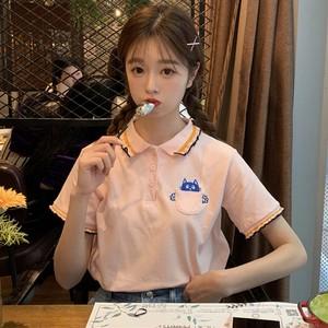 【トップス】韓国学園風春秋シック人気ファッションPOLOネックTシャツ