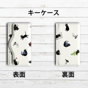 キーケース レディース おすすめ おしゃれ 可愛い キーケース革 タイトル:くろねこ日和(白) 作:嘉村ギミ
