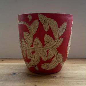ペイント鉢 - 花柄 L