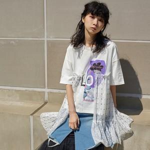 サイドフレアーTシャツ(WHITE)Re-406