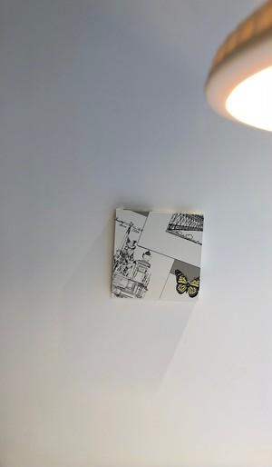 北欧アート|スケッチと蝶々のアートパネル<0972A20 >