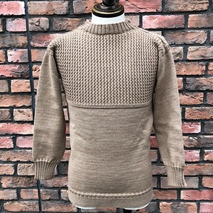 Guernsey Sweater Woollens Beige Made In England /UK34