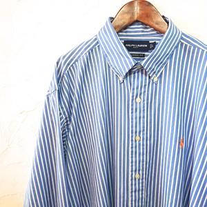 【USED】ラルフ・ローレン ストライプ ボタンダウン シャツ サックス×ホワイト