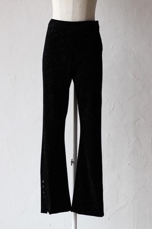 【Eicayoshinari】snow flake flocky pants-black