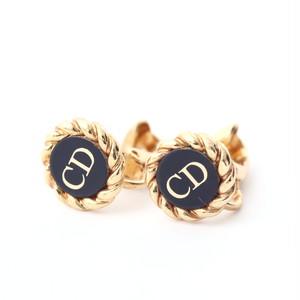 Christian Dior/クリスチャン・ディオール CDロゴエッジロープデザインミニイヤリング ゴールド×ブラック(50142)