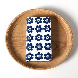 【iPhone 専用タイプ】帯なし*手帳型*スマホケース「 anemone ( deep blue )」● 受注生産