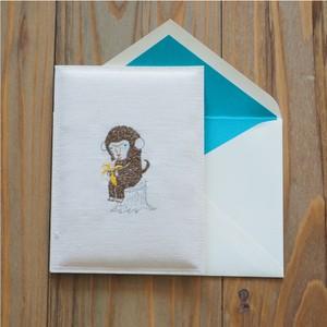 サルのぷっくりカード(二つ折り)
