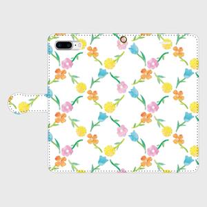 小花 iPhone8Plus用 手帳型ケース