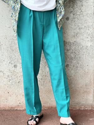 Vintage Turquoise Blue Tuck Trousers
