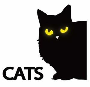 猫目が光る黒猫ステッカー(縦)